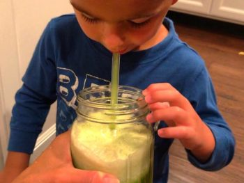 Photo of Kim's 3-year-old son drinking green juice