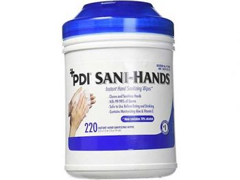 photo of PDI Sani-Hands anti-microbial wipes canister
