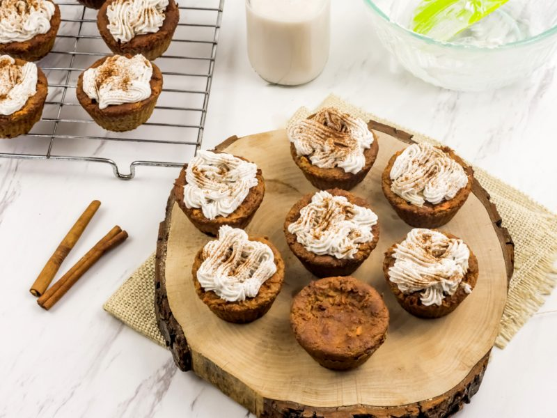 photo of carrot muffins with coconut cream frosting