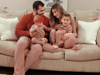 photo of the Spair family, holiday photo in matching pajamas