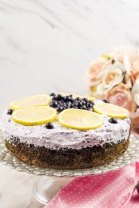 Spiced lemon cake with wild blueberry frosting