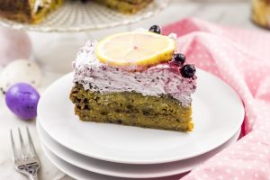 photo of spiced lemon cake with wild blueberry frosting