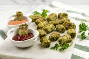 Broccoli tots with sauces