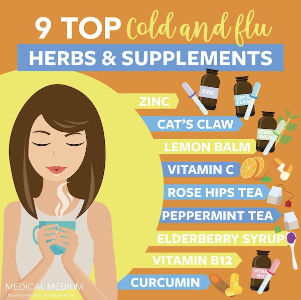 Medical Medium graphic for top 9 cold and flu herbs and supplements