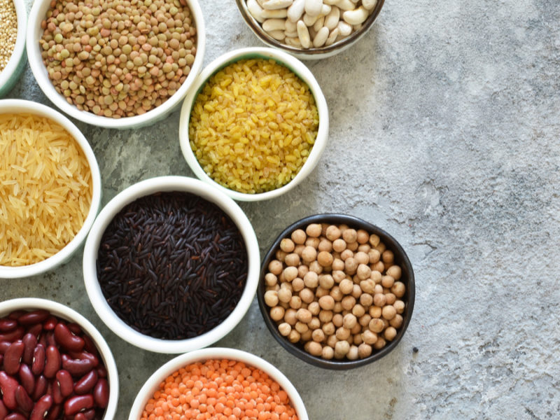 assorted grains and beans